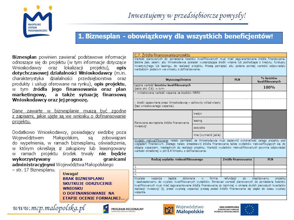 www.mcp.malopolska.pl Inwestujemy w przedsiębiorcze pomysły! 1.Biznesplan - obowiązkowy dla wszystkich beneficjentów ! Biznesplan powinien zawierać po