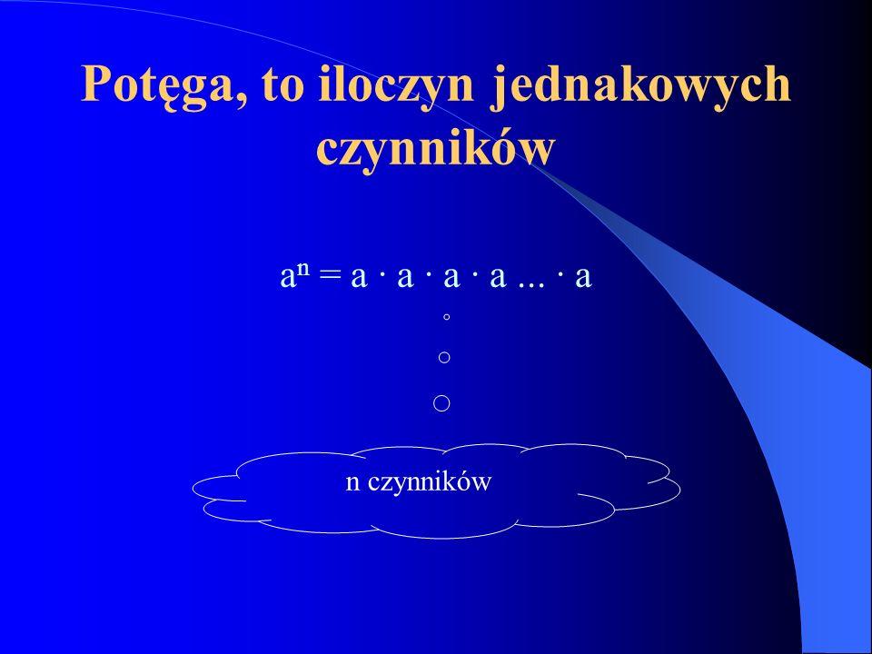 Potęga, to iloczyn jednakowych czynników a n = a · a · a · a... · a n czynników