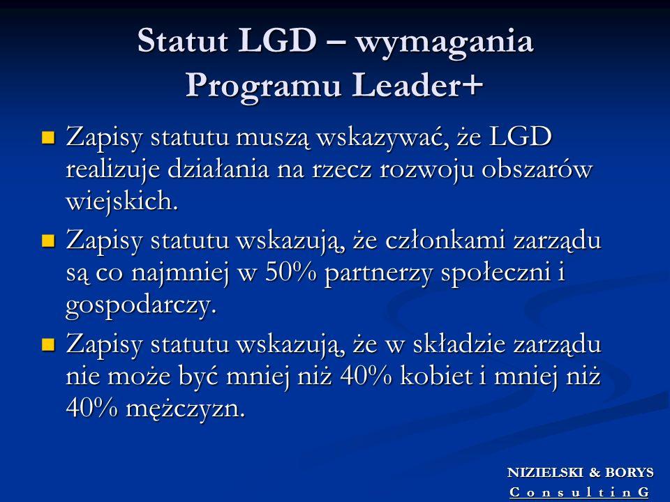 Statut LGD – wymagania Programu Leader+ Zapisy statutu muszą wskazywać, że LGD realizuje działania na rzecz rozwoju obszarów wiejskich. Zapisy statutu