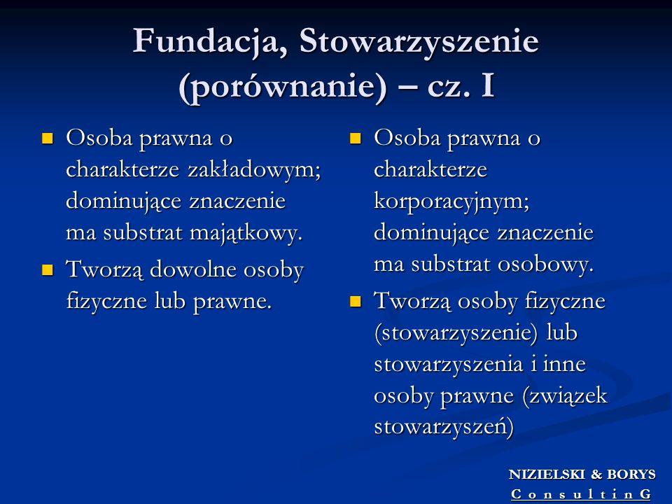 Fundacja, Stowarzyszenie (porównanie) – cz. I Osoba prawna o charakterze zakładowym; dominujące znaczenie ma substrat majątkowy. Osoba prawna o charak