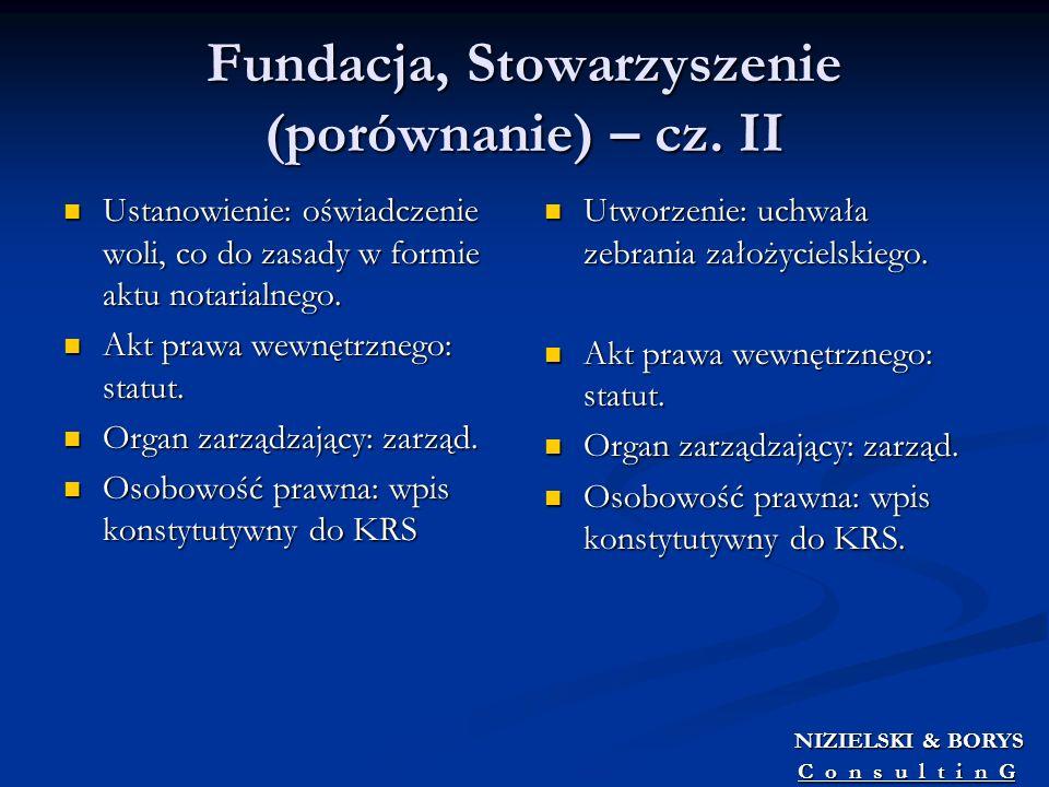 Fundacja, Stowarzyszenie (porównanie) – cz. II Ustanowienie: oświadczenie woli, co do zasady w formie aktu notarialnego. Ustanowienie: oświadczenie wo