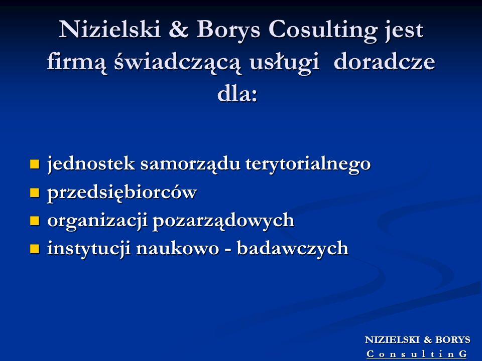 Nizielski & Borys Cosulting jest firmą świadczącą usługi doradcze dla: jednostek samorządu terytorialnego jednostek samorządu terytorialnego przedsięb