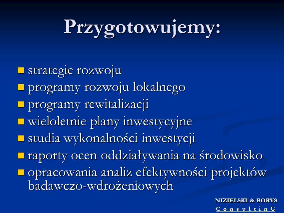 Przygotowujemy: strategie rozwoju strategie rozwoju programy rozwoju lokalnego programy rozwoju lokalnego programy rewitalizacji programy rewitalizacj