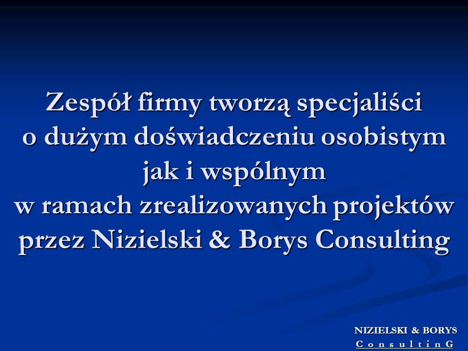 Zespół firmy tworzą specjaliści o dużym doświadczeniu osobistym jak i wspólnym w ramach zrealizowanych projektów przez Nizielski & Borys Consulting NI