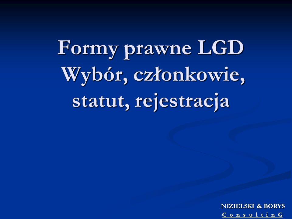 Formy prawne LGD Wybór, członkowie, statut, rejestracja NIZIELSKI & BORYS NIZIELSKI & BORYS C o n s u l t i n G