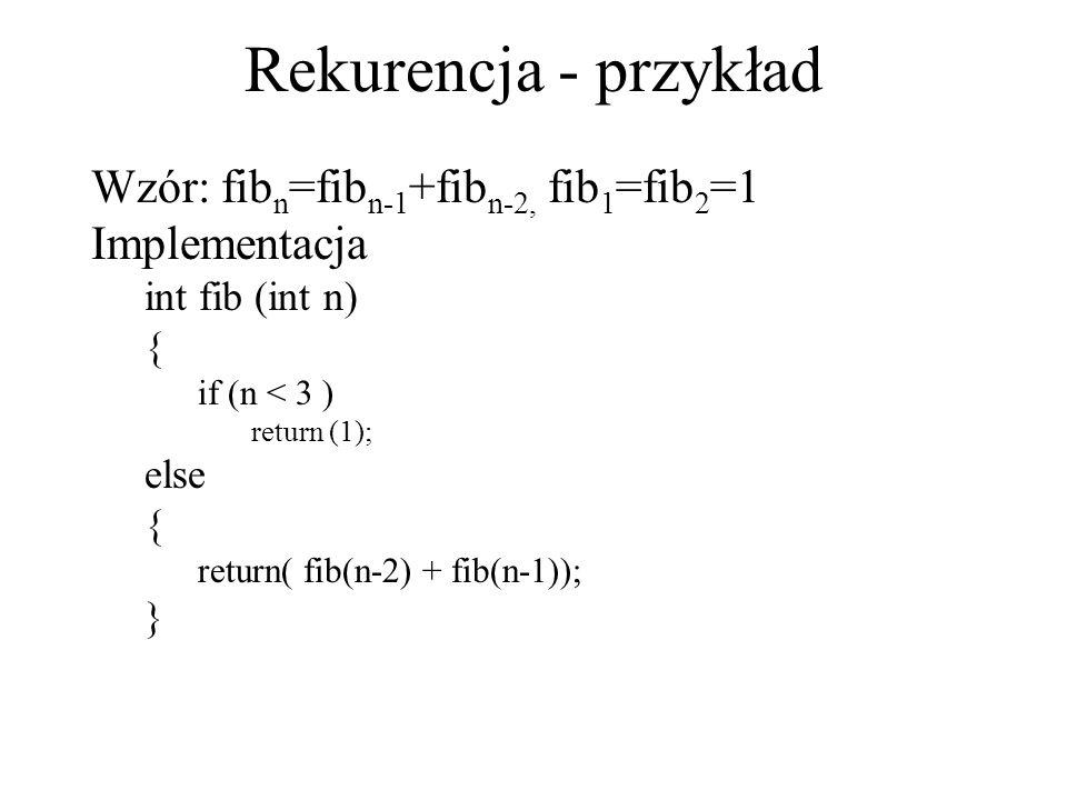Rekurencja - przykład Wzór: fib n =fib n-1 +fib n-2, fib 1 =fib 2 =1 Implementacja int fib (int n) { if (n < 3 ) return (1); else { return( fib(n-2) +