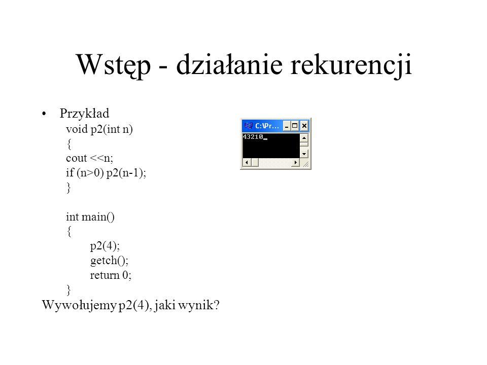 Wstęp - działanie rekurencji Przykład void p2(int n) { cout <<n; if (n>0) p2(n-1); } int main() { p2(4); getch(); return 0; } Wywołujemy p2(4), jaki w