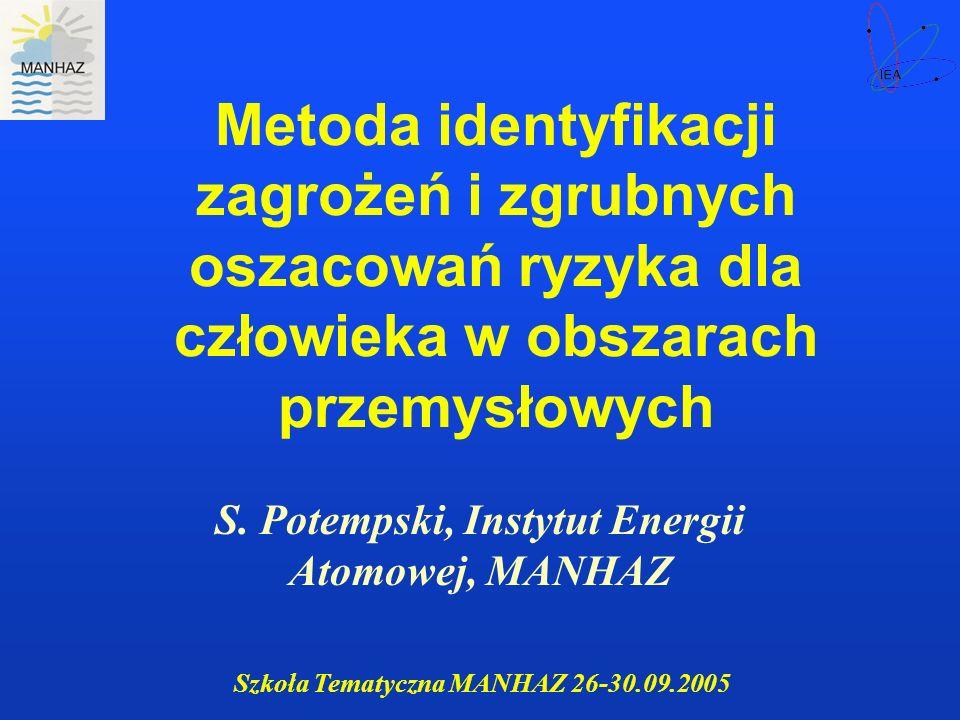 Szkoła Tematyczna MANHAZ 26-30.09.2005 Identyfikacja niebezpiecznych rodzajów działalności Metodyka oparta na zgrubnych oszacowaniach ryzyka Opracowana we wspólnym programie MAA, UNEP, UNIDO i WHO