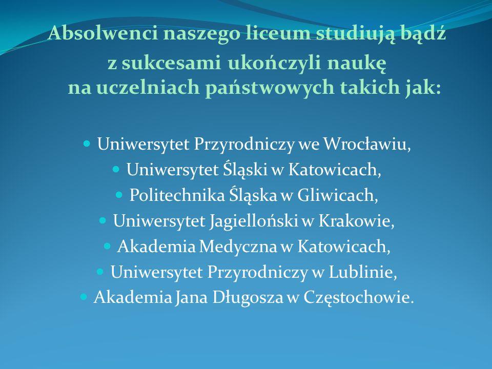 Absolwenci naszego liceum studiują bądź z sukcesami ukończyli naukę na uczelniach państwowych takich jak: Uniwersytet Przyrodniczy we Wrocławiu, Uniwe