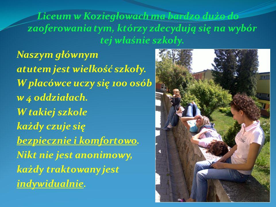 Liceum w Koziegłowach ma bardzo dużo do zaoferowania tym, którzy zdecydują się na wybór tej właśnie szkoły. Naszym głównym atutem jest wielkość szkoły
