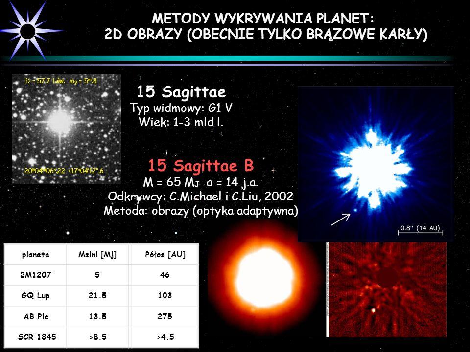 METODY WYKRYWANIA PLANET: 2D OBRAZY (OBECNIE TYLKO BRĄZOWE KARŁY) 15 Sagittae Typ widmowy: G1 V Wiek: 1-3 mld l. D = 57.7 l.św. m V = 5 m.8 20 h 04 m