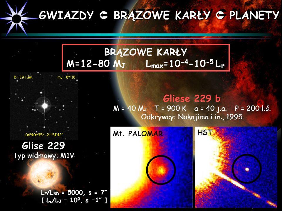 BRĄZOWE KARŁY M=12-80 M J L max =10 -4 -10 -5 L Glise 229 Typ widmowy: M1V D =19 l.św. m V = 8 m.18 06 h 10 m 35 s -21 o 5142 HST Mt. PALOMAR L * /L B