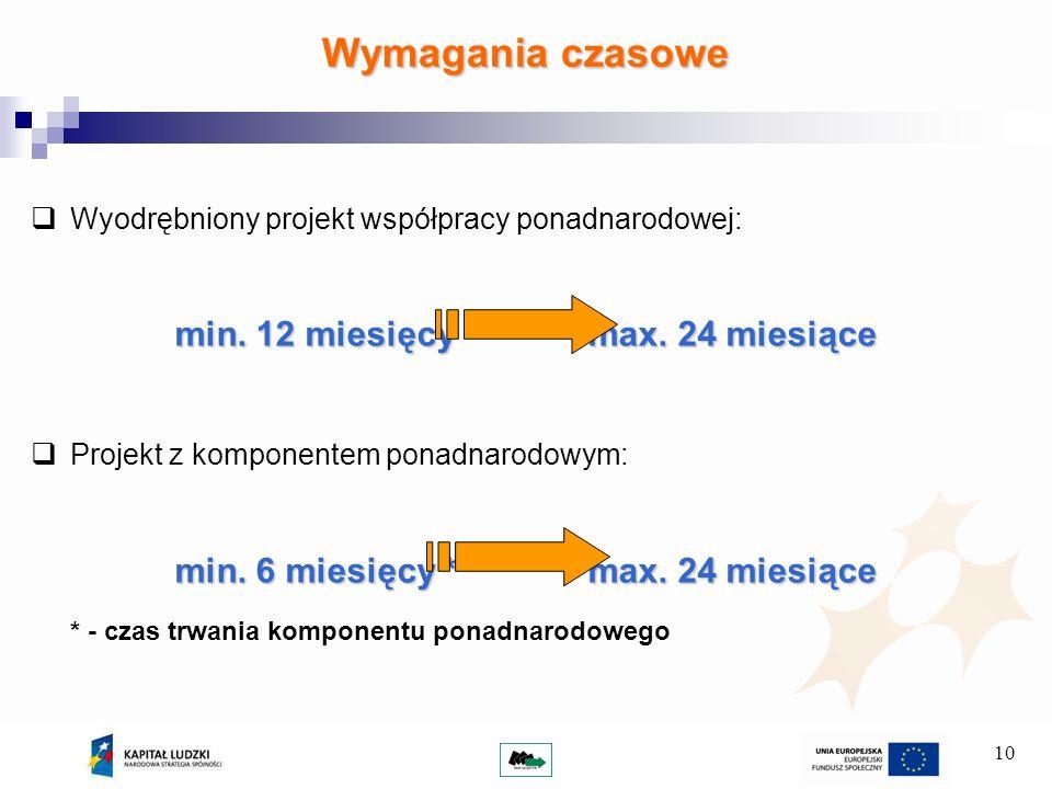10 Wyodrębniony projekt współpracy ponadnarodowej: min.