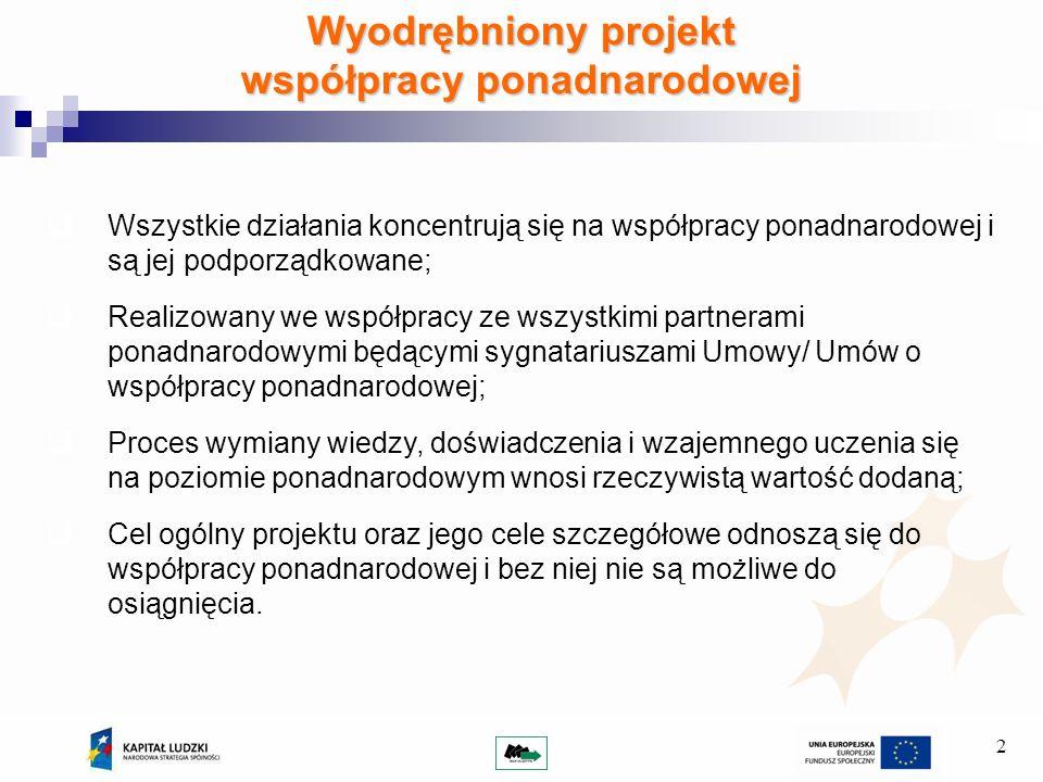 2 Wyodrębniony projekt współpracy ponadnarodowej Wszystkie działania koncentrują się na współpracy ponadnarodowej i są jej podporządkowane; Realizowany we współpracy ze wszystkimi partnerami ponadnarodowymi będącymi sygnatariuszami Umowy/ Umów o współpracy ponadnarodowej; Proces wymiany wiedzy, doświadczenia i wzajemnego uczenia się na poziomie ponadnarodowym wnosi rzeczywistą wartość dodaną; Cel ogólny projektu oraz jego cele szczegółowe odnoszą się do współpracy ponadnarodowej i bez niej nie są możliwe do osiągnięcia.