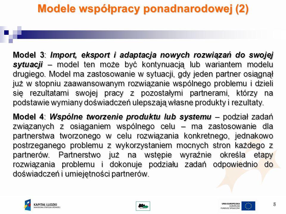 8 Modele współpracy ponadnarodowej (2) Model 3: Import, eksport i adaptacja nowych rozwiązań do swojej sytuacji – model ten może być kontynuacją lub wariantem modelu drugiego.