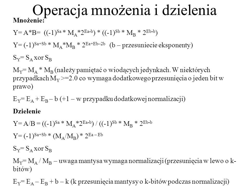 Operacja mnożenia i dzielenia Mnożenie: Y= A*B= ((-1) Sa * M A *2 Ea-b ) * ((-1) Sb * M B * 2 Eb-b ) Y= (-1) Sa+Sb * M A *M B * 2 Ea+Eb–2b (b – przesu