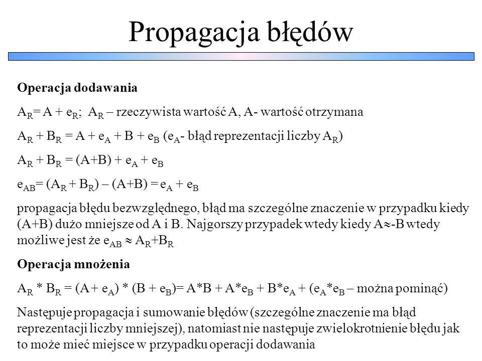 Propagacja błędów Operacja dodawania A R = A + e R ; A R – rzeczywista wartość A, A- wartość otrzymana A R + B R = A + e A + B + e B (e A - błąd repre