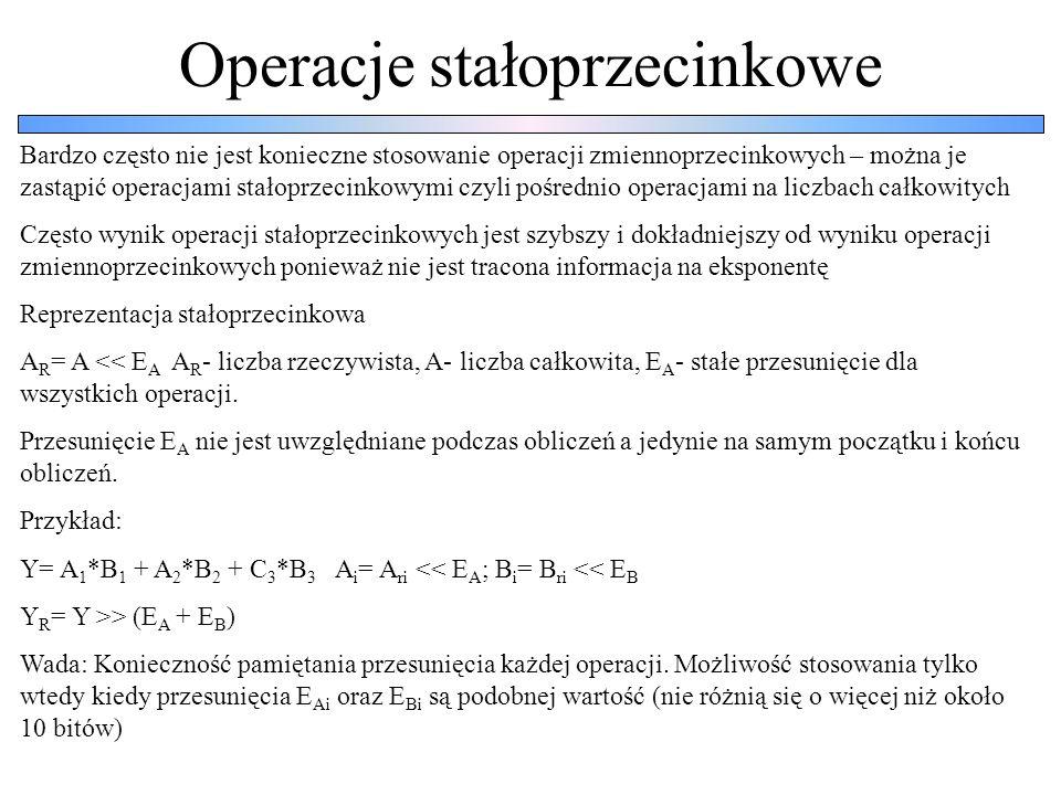 Operacje stałoprzecinkowe Bardzo często nie jest konieczne stosowanie operacji zmiennoprzecinkowych – można je zastąpić operacjami stałoprzecinkowymi