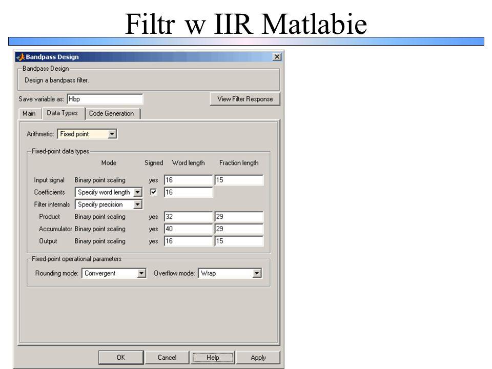 Filtr w IIR Matlabie
