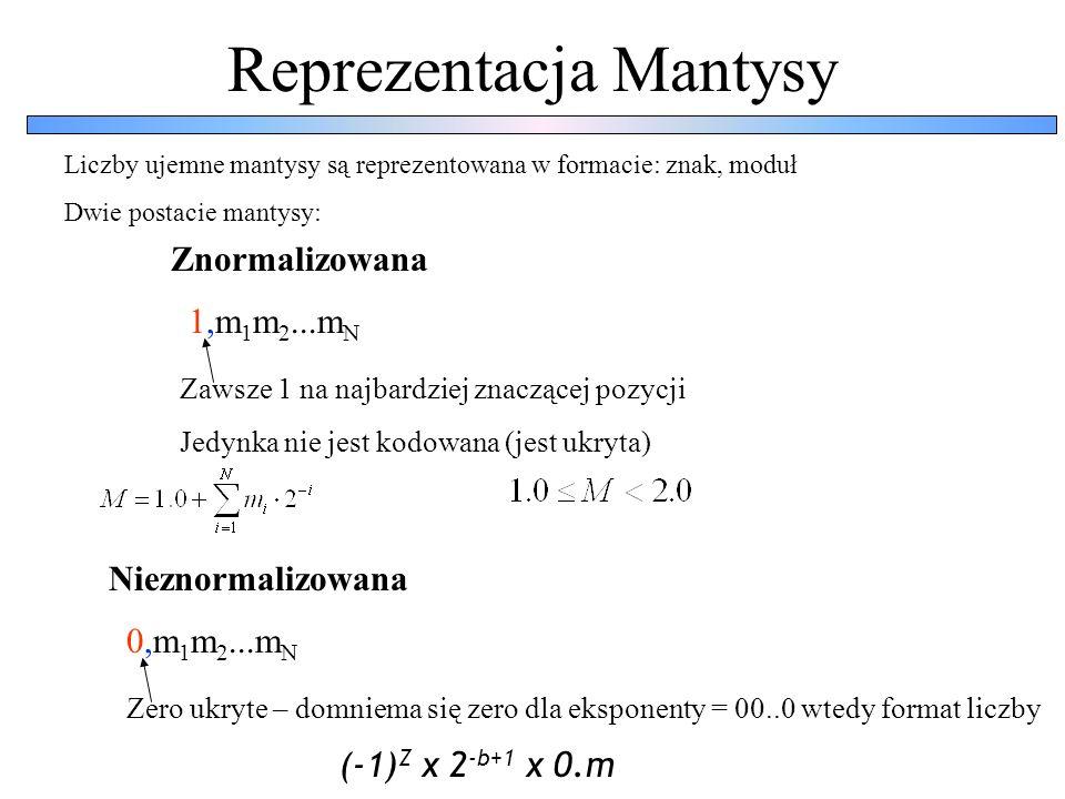 Reprezentacja Mantysy 1,m 1 m 2...m N Zawsze 1 na najbardziej znaczącej pozycji Jedynka nie jest kodowana (jest ukryta) Liczby ujemne mantysy są repre