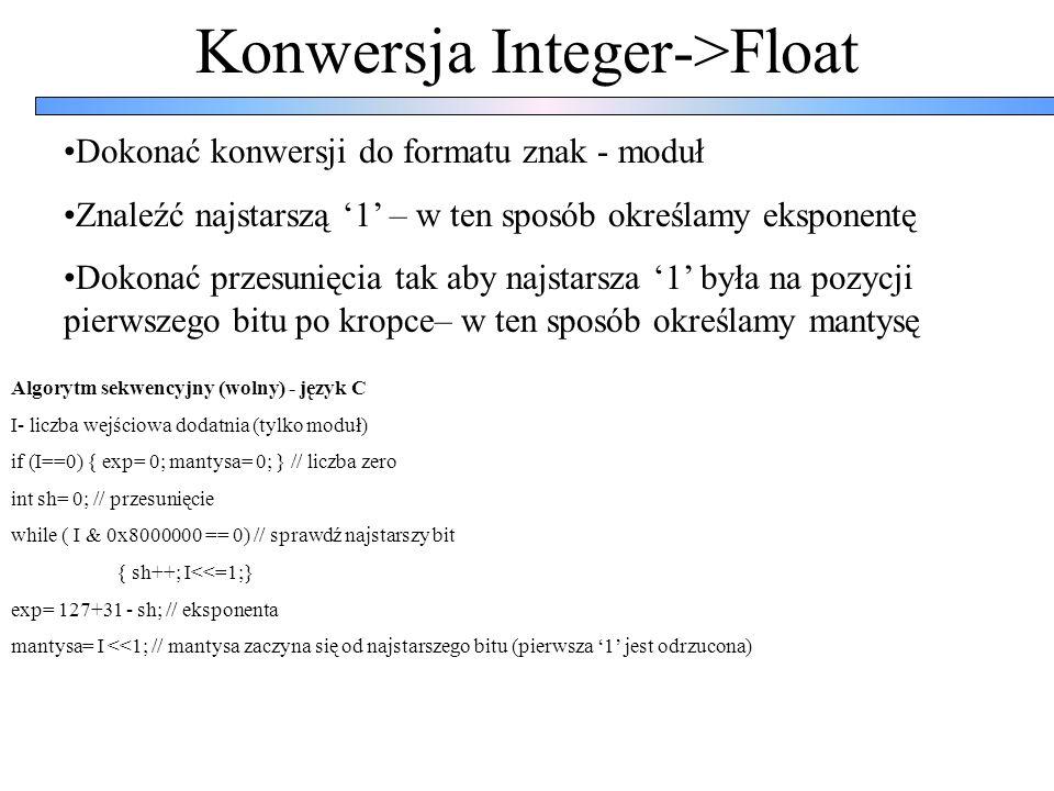 Konwersja Integer->Float Algorytm szybki (zastosowany w sprzęcie) I- liczba wejściowa dodatnia (tylko moduł) int sh= 0; // przesunięcie if (I & 0xFFFF0000 == 0) // sprawdź najstarsze 16-bitów { I<<= 16; sh|= 0x10; } // ewentualnie przesuń o 16 bitów if (I & 0xFF000000 == 0) // sprawdź najstarsze 8 bitów { I<<= 8; sh|= 8; } // ewentualnie przesuń o 8 bitów if (I & 0xF0000000 == 0) // sprawdź najstarsze 4 bitów { I<<= 4; sh|= 4; } // ewentualnie przesuń o 4 bity if (I & 0xC0000000 == 0) // sprawdź najstarsze 2 bitów { I<<= 2; sh|= 2; } // ewentualnie przesuń o 2 bitów if (I & 0x80000000 == 0) // sprawdź najstarszy bit { I<<= 1; sh|= 1; } // ewentualnie przesuń o 8 bitów if (I & 0x8000000 == 0) { exp= 0; mantysa= 0; } // liczba zero (sprawdź tylko najstarszy bit) else { mantysa= I<<1; exp= 31+127-sh; }