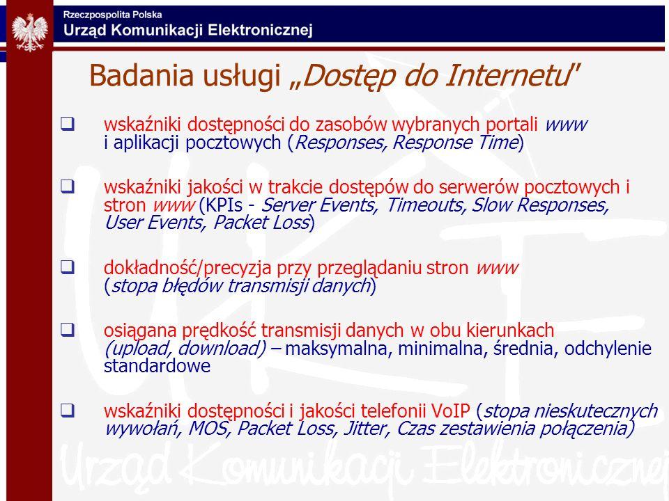 Badania usługi Dostęp do Internetu wskaźniki dostępności do zasobów wybranych portali www i aplikacji pocztowych (Responses, Response Time) wskaźniki