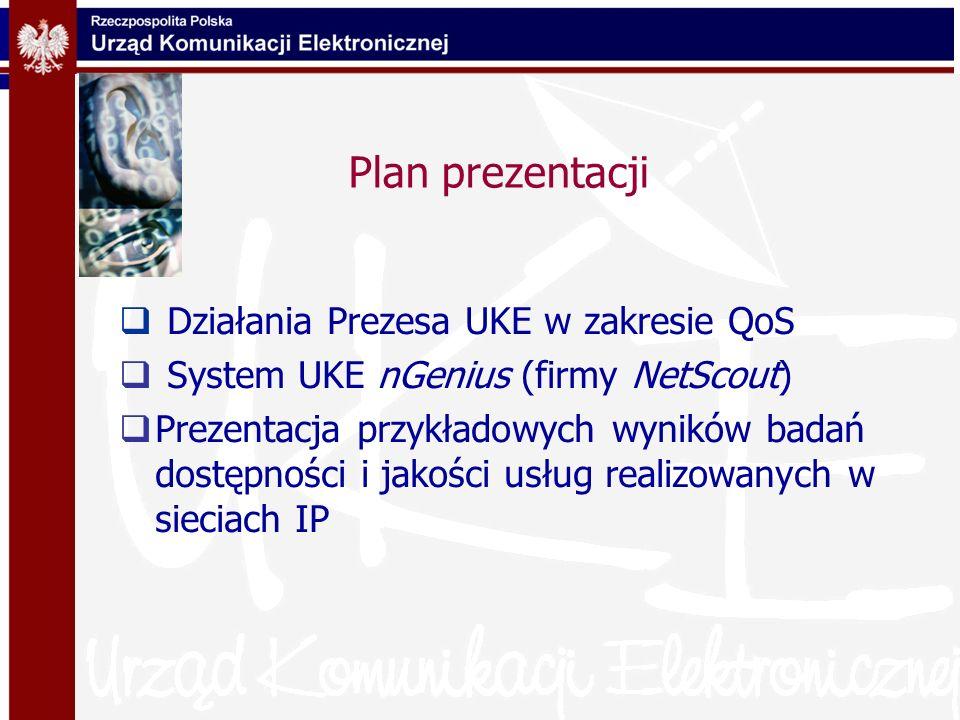 Plan prezentacji Działania Prezesa UKE w zakresie QoS System UKE nGenius (firmy NetScout) Prezentacja przykładowych wyników badań dostępności i jakośc
