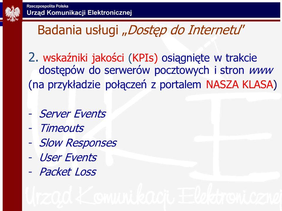 Badania usługi Dostęp do Internetu 2. wskaźniki jakości (KPIs) osiągnięte w trakcie dostępów do serwerów pocztowych i stron www (na przykładzie połącz