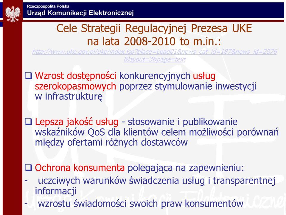 Cele Strategii Regulacyjnej Prezesa UKE na lata 2008-2010 to m.in.: http://www.uke.gov.pl/uke/index.jsp?place=Lead01&news_cat_id=187&news_id=2876 &lay