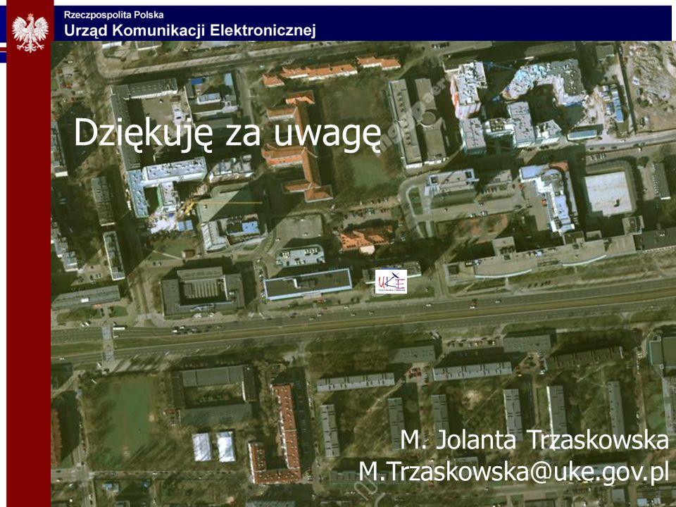 Dziękuję za uwagę M. Jolanta Trzaskowska M.Trzaskowska@uke.gov.pl