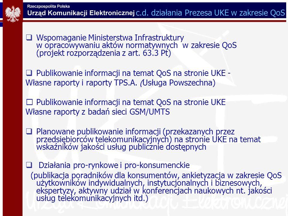 Wspomaganie Ministerstwa Infrastruktury w opracowywaniu aktów normatywnych w zakresie QoS (projekt rozporządzenia z art. 63.3 Pt) Publikowanie informa