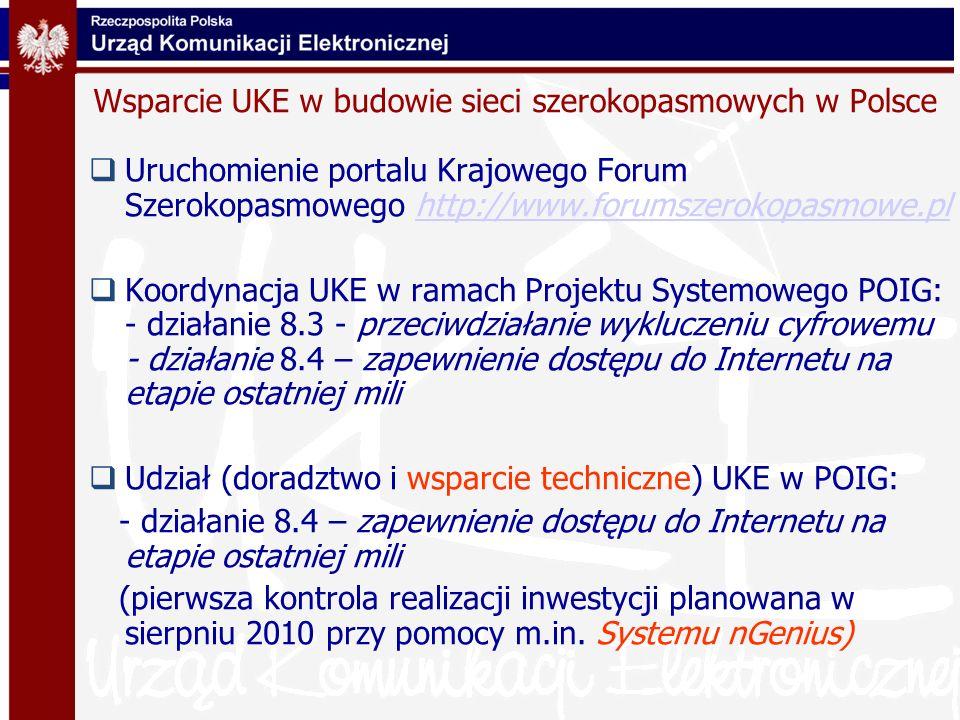 Wsparcie UKE w budowie sieci szerokopasmowych w Polsce Uruchomienie portalu Krajowego Forum Szerokopasmowego http://www.forumszerokopasmowe.plhttp://w