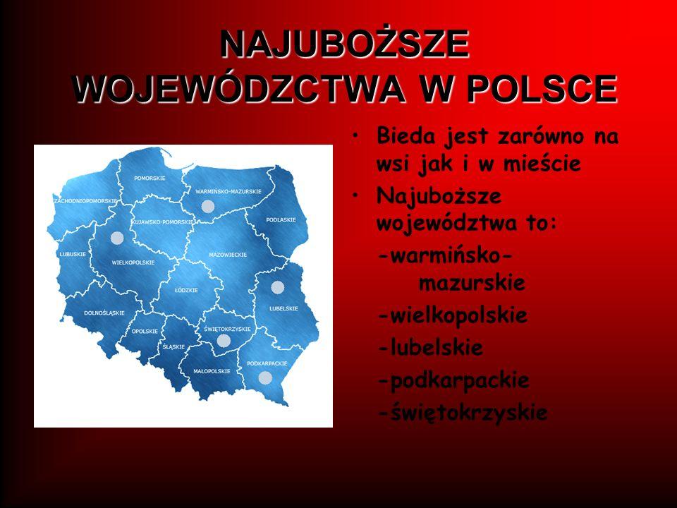 NAJUBOŻSZE WOJEWÓDZCTWA W POLSCE Bieda jest zarówno na wsi jak i w mieście Najuboższe województwa to: -warmińsko- mazurskie -wielkopolskie -lubelskie