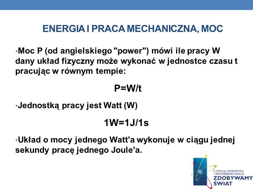 ENERGIA I PRACA MECHANICZNA, MOC Moc P (od angielskiego
