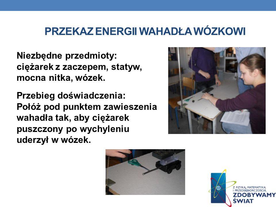 PRZEKAZ ENERGII WAHADŁA WÓZKOWI Niezbędne przedmioty: ciężarek z zaczepem, statyw, mocna nitka, wózek. Przebieg doświadczenia: Połóż pod punktem zawie