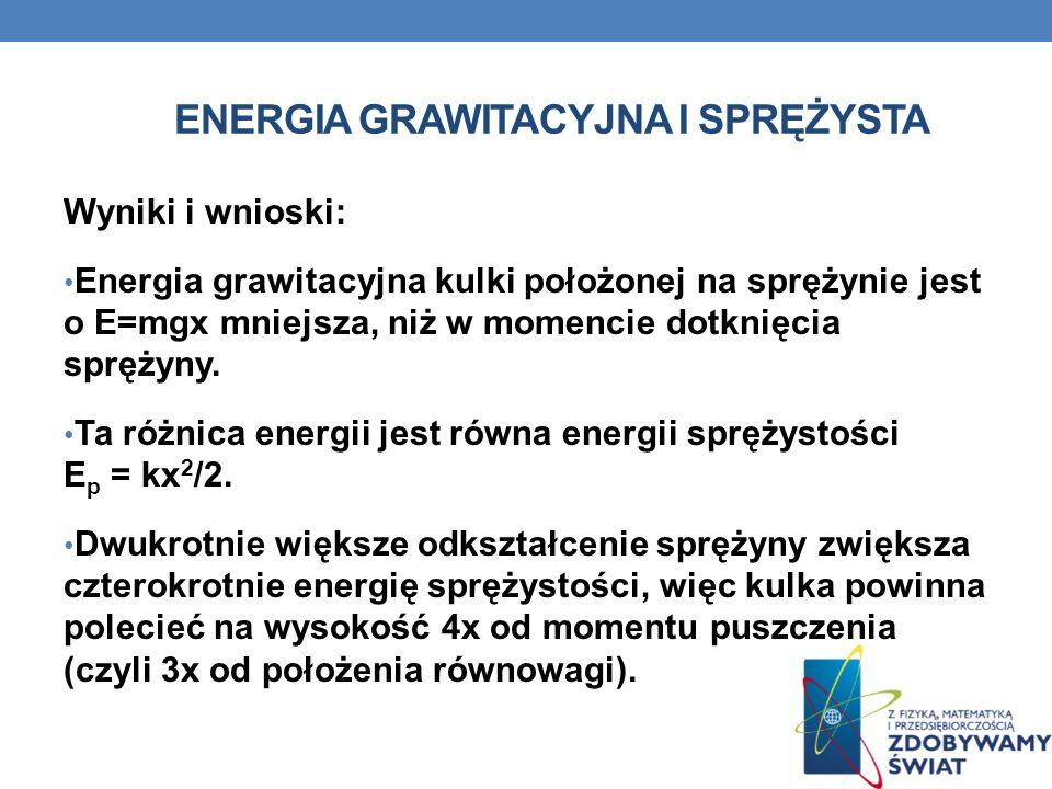ENERGIA GRAWITACYJNA I SPRĘŻYSTA Wyniki i wnioski: Energia grawitacyjna kulki położonej na sprężynie jest o E=mgx mniejsza, niż w momencie dotknięcia