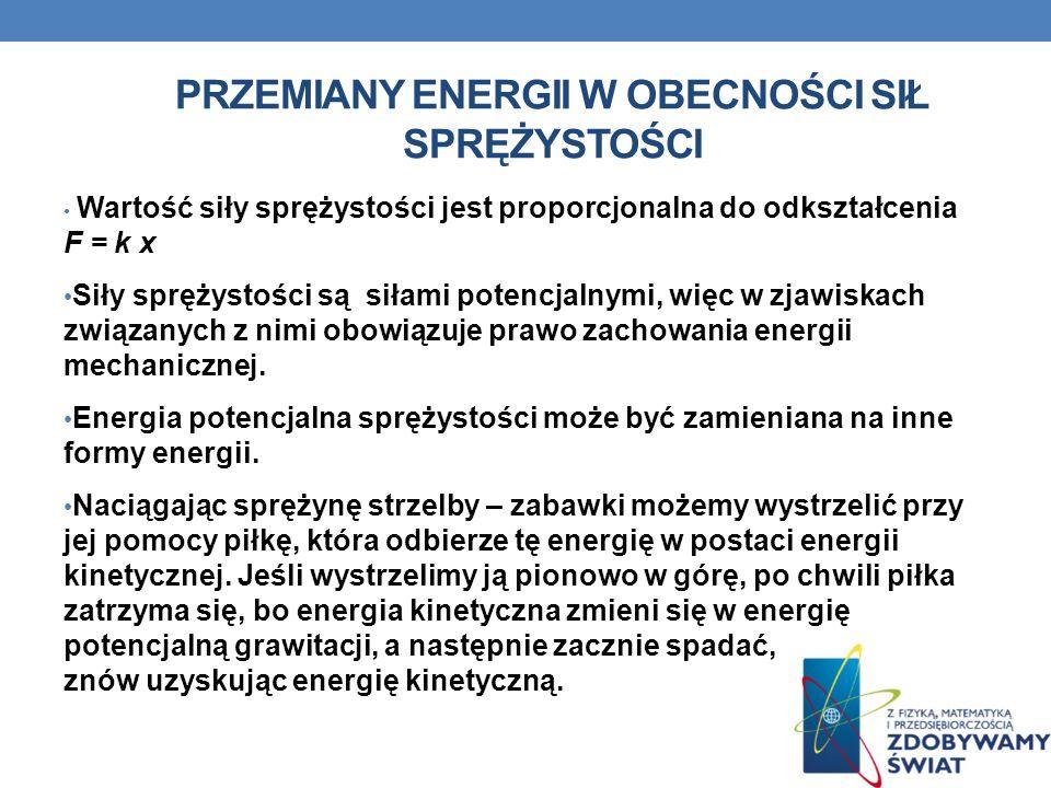 PRZEMIANY ENERGII W OBECNOŚCI SIŁ SPRĘŻYSTOŚCI Wartość siły sprężystości jest proporcjonalna do odkształcenia F = k x Siły sprężystości są siłami pote