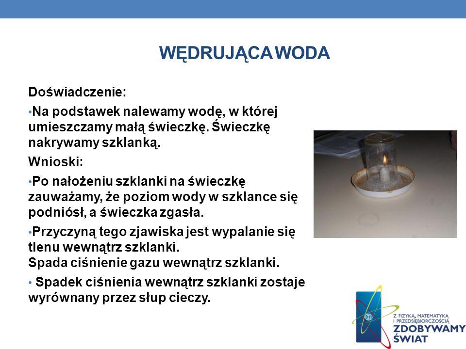 WĘDRUJĄCA WODA Doświadczenie: Na podstawek nalewamy wodę, w której umieszczamy małą świeczkę. Świeczkę nakrywamy szklanką. Wnioski: Po nałożeniu szkla