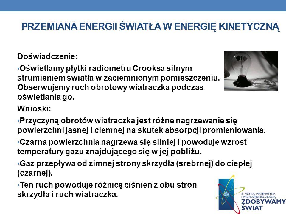 PRZEMIANA ENERGII ŚWIATŁA W ENERGIĘ KINETYCZNĄ Doświadczenie: Oświetlamy płytki radiometru Crooksa silnym strumieniem światła w zaciemnionym pomieszcz