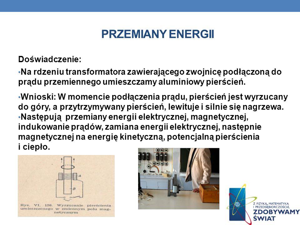 PRZEMIANY ENERGII Doświadczenie: Na rdzeniu transformatora zawierającego zwojnicę podłączoną do prądu przemiennego umieszczamy aluminiowy pierścień. W