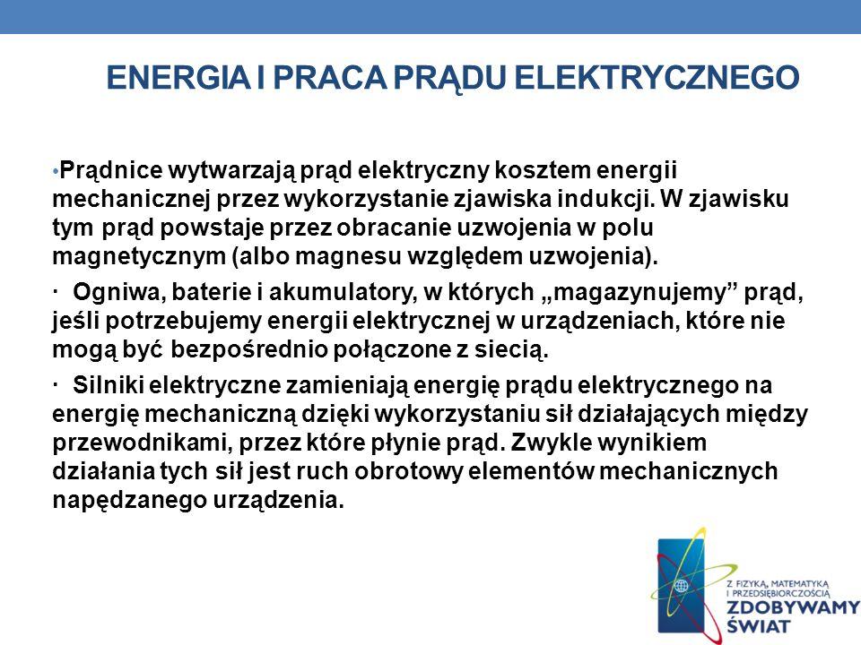ENERGIA I PRACA PRĄDU ELEKTRYCZNEGO Prądnice wytwarzają prąd elektryczny kosztem energii mechanicznej przez wykorzystanie zjawiska indukcji. W zjawisk