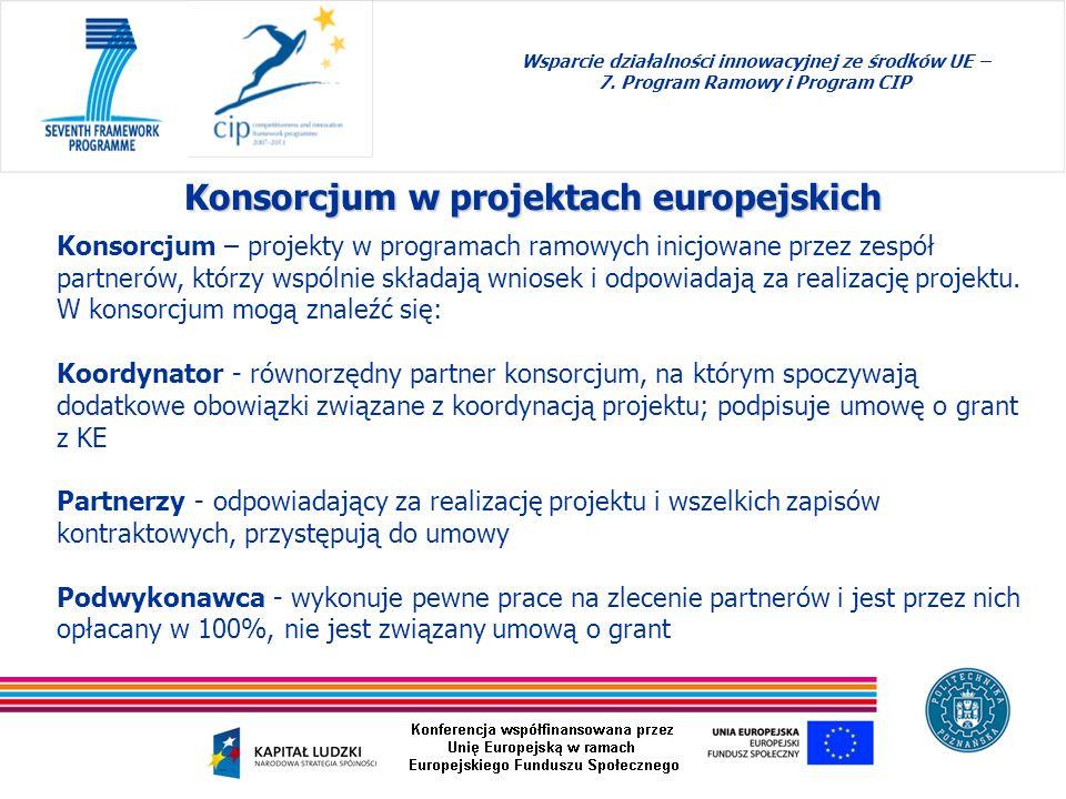 Wsparcie działalności innowacyjnej ze środków UE – 7. Program Ramowy i Program CIP Konsorcjum w projektach europejskich Konsorcjum – projekty w progra