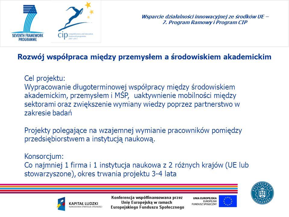 Wsparcie działalności innowacyjnej ze środków UE – 7. Program Ramowy i Program CIP Rozwój współpraca między przemysłem a środowiskiem akademickim Cel
