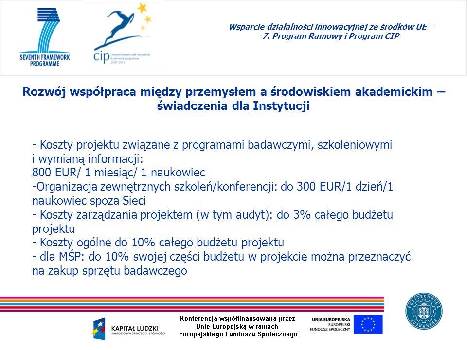 Wsparcie działalności innowacyjnej ze środków UE – 7. Program Ramowy i Program CIP – Rozwój współpraca między przemysłem a środowiskiem akademickim –