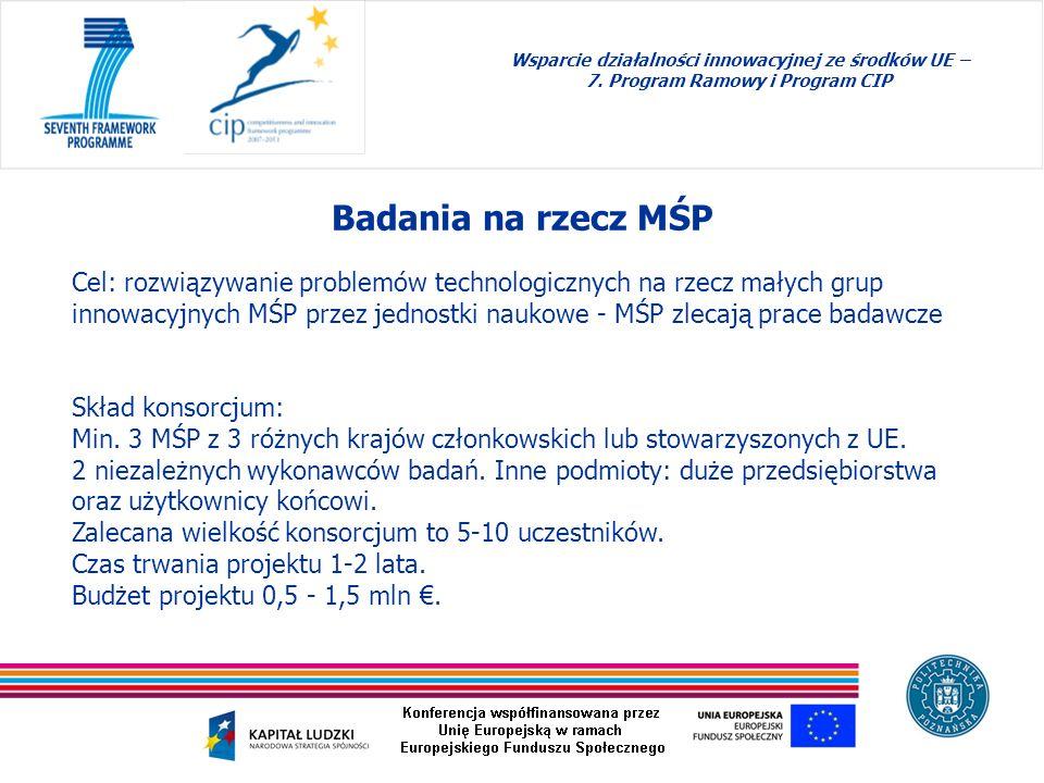 Badania na rzecz MŚP Wsparcie działalności innowacyjnej ze środków UE – 7. Program Ramowy i Program CIP Cel: rozwiązywanie problemów technologicznych