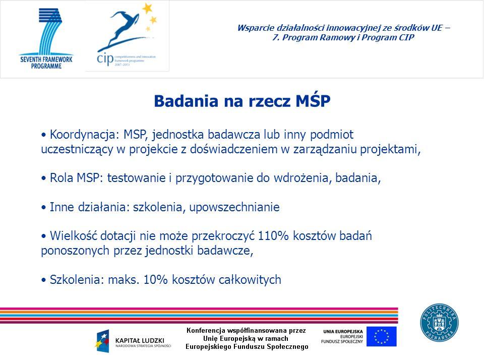 Badania na rzecz MŚP Wsparcie działalności innowacyjnej ze środków UE – 7. Program Ramowy i Program CIP Koordynacja: MSP, jednostka badawcza lub inny
