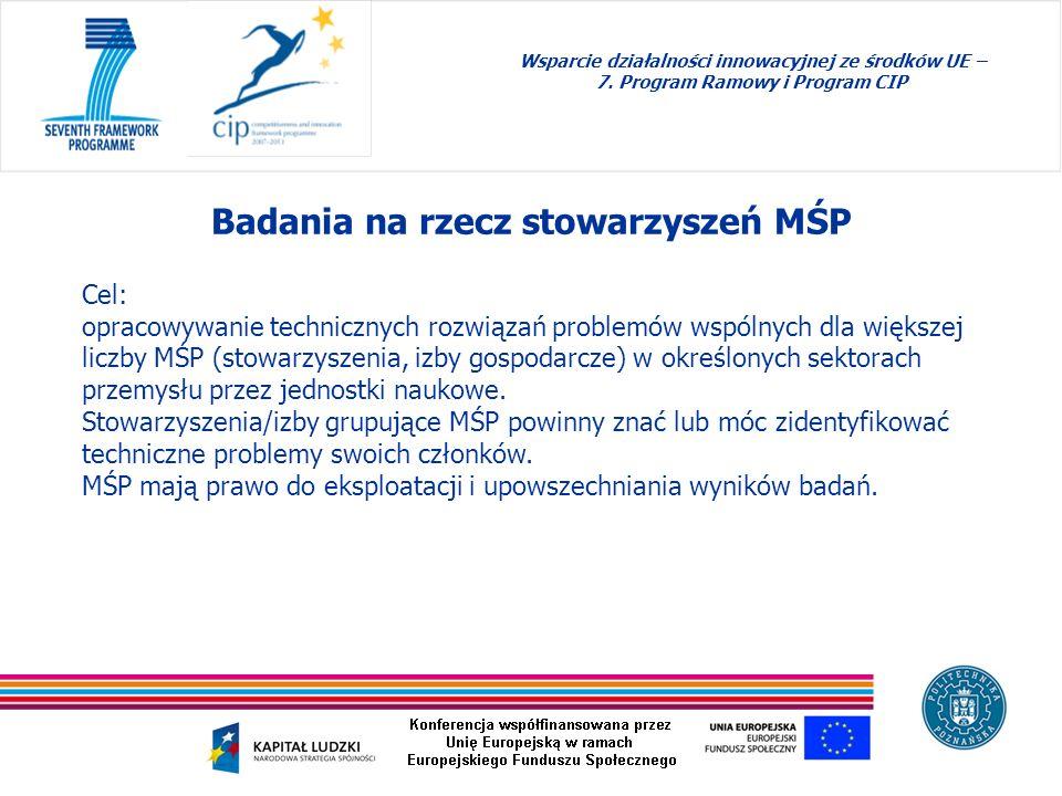 Badania na rzecz stowarzyszeń MŚP Wsparcie działalności innowacyjnej ze środków UE – 7. Program Ramowy i Program CIP Cel: opracowywanie technicznych r