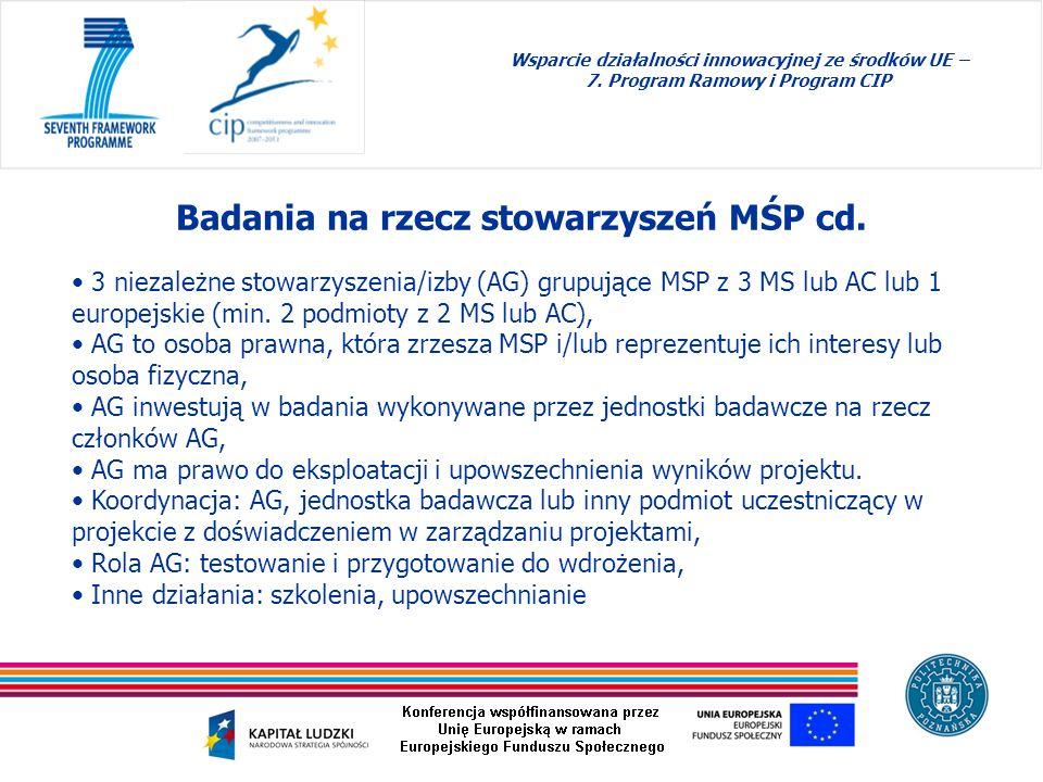 Badania na rzecz stowarzyszeń MŚP cd. Wsparcie działalności innowacyjnej ze środków UE – 7. Program Ramowy i Program CIP 3 niezależne stowarzyszenia/i