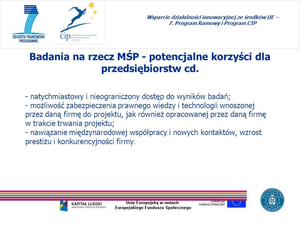 - natychmiastowy i nieograniczony dostęp do wyników badań; - możliwość zabezpieczenia prawnego wiedzy i technologii wnoszonej przez daną firmę do proj