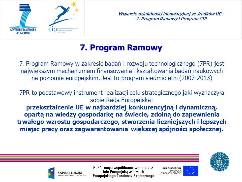 7. Program Ramowy 7. Program Ramowy w zakresie badań i rozwoju technologicznego (7PR) jest największym mechanizmem finansowania i kształtowania badań